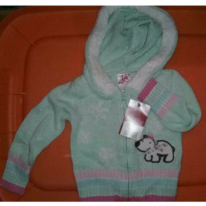 New With Tags Girl's Green Sweater Size 12 Months